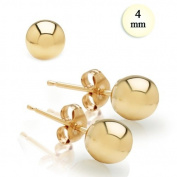 High Polish 14K Yellow Gold 4MM Ball Earrings With Post Friction Back