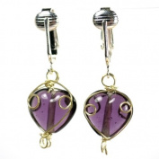 Beautiful Purple Violet Glass Clip-on Earrings with Handcrafted Wire-Wrapped Beads - Lavender Look Heart Shaped Non-pierced Jewellery