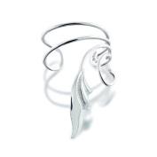 Bling Jewellery 925 Sterling Silver Stylized Leaf Vines Ear Cuff Right Ear