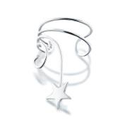 Bling Jewellery Star Ear Cuff Left Ear Wave 925 Sterling Silver