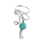 Bling Jewellery Ear Cuff Left Ear Genuine Turquoise Long Wave 925 Sterling Silver
