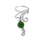 Mothers Day Gifts Bling Jewellery Ear Cuff Right Ear Long Wave Green Jade Gemstone 925 Sterling Silver