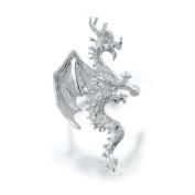 Bling Jewellery Ear Cuff Right Ear Horned Flying Dragon 925 Sterling Silver