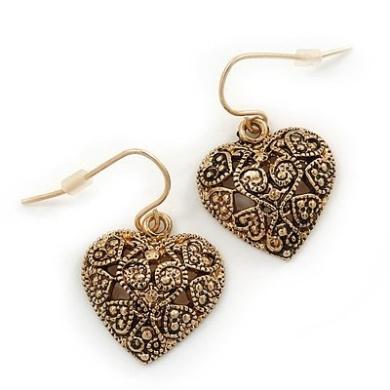 Marcasite Burn Gold 'Heart' Drop Earrings - 3cm Length