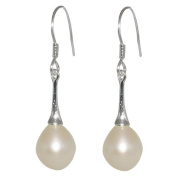 9-10mm White Tear Drop Shell Pearl Dangle Earrings Fish Hook