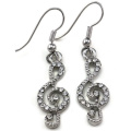 Clear Treble Clef Music Note Symbol Dangle Earrings Silver Tone Crystal Stones Fashion Jewellery