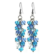 Ocean Blue Cluster Faceted Crystal Dangle Hook Earrings For Women 5.1cm