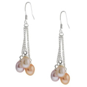 3-Colour Genuine Freshwater Cultured Pearl Dangle Earrings 3.8cm