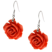 20mm .925 Sterling Silver Simulated Pink Coral Carved Rose Flower Earrings