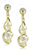1928 Jewellery Gold Shell and Pearl Drop Earrings