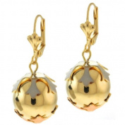 1-1cm Tri Tone Round Ball Gold Plated Dangle Earrings With Lever Back