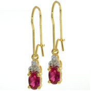 Stunning Diamond Accent With Pink CZ Gold Plated Sterling Silver Dangle Earrings