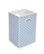 Best Quality Folding Hamper/Storage Bin - Blue with White Polka Dots By Badger