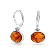 Bling Jewellery Honey Amber Dangle Leverback Earrings Oval Gemstone 925 Silver