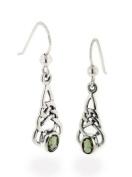 Sterling Silver Celtic Knot and Genuine Green Meteor Rock (Moldavite) Hook Earrings