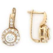 10k Solid Yellow Gold Imitation Diamond Earring Jewellery