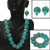 Round Green Turquoise Howlite Necklace 45.7cm W/Lobster Clasp Bracelet Earrings Set