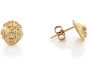 10k Yellow Gold 0.8 Cm Lion Head with Round CZ Pin Earrings