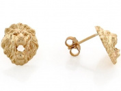 10k Yellow Gold 1.1cm Lion Head with Open Mouth Pin Earrings