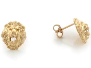 10k Yellow Gold 1.1cm Lion Head with Round CZ Pin Earrings