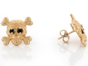10k Yellow Gold Skull and Crossbones Earrings with Synthetic Blue CZ