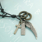 Men Vintage Bird Feather Eagle Wing Cross DOG TAG Leather Chain Necklace Pendant