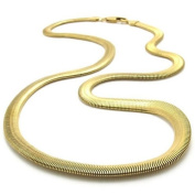 KONOV Jewellery Stainless Steel Men's Necklace Snake Chain - Gold 6mm 21.5""