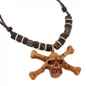 Wooden Skull & Crossbones Pendant W/ Cord Necklace