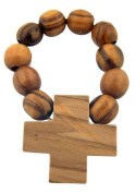 Mens Womens Catholic Gift Made in Bethlehem Brown Olive Wood Bead One Decade 4.8cm Rosary Ring