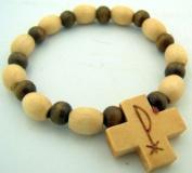 Mens Womens 17.8cm Wood Bead Christian Greek Chi Rho Christ Cross Stretch Bracelet