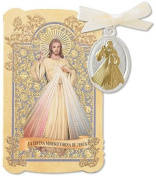 Catholic Gift Prayer Folder with Spanish Divine Mercy La Divina Misericordia De Jesus Tu Tone Gold Silver Plate Charm Medal Pendant