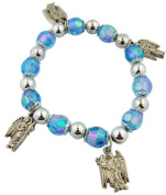 "Womens Girls Catholic Jewellery Gift 10MM Faux Light Blue Sapphire Bead with Holy Angels Michael Uriel Gabriel Raphael Silver Charm 7 1/2"" Stretch Bracelet with Story Card"