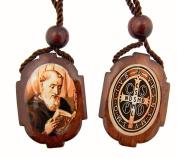 Mens Womens Religious Roman Catholic Gift Saint St Benedict of Nursia Protection Medal Wood Bead Cord Scapular Devotional Necklace