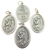 Lot of 4!! Mens Womens Catholic Gift Silver Plate Saint St Christopher Protection Medal Charm Pendant