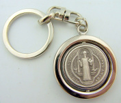 Mens Womens Catholic Key Chain Rare Saint St Benedict Swivel Silver Plate Gild Medal Heavy Duty