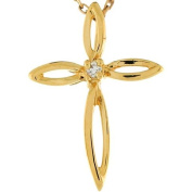 10k 2.2cm Real Yellow Gold White Diamond Eternity Cross Slide Pendant