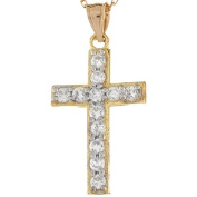 10k Real Gold White CZ 2.95cm Long Traditional Cristian Cross Charm Pendant