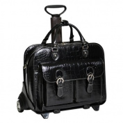 Siamod San Martino Ladies Detachable-Wheeled Italian Crocco Leather Laptop Case - Black