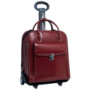 La Grange Red Leather Vertical Detachable Wheeled Ladies Briefcase by McKlein USA