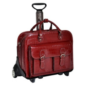 Siamod San Martino Ladies Detachable-Wheeled Italian Crocco Leather Laptop Case - Cherry Red