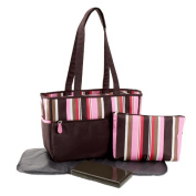 Pretty Baby - Microfiber Striped-Print Nappy Bag, Pink
