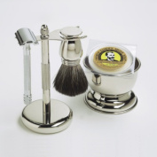 5 piece Col. Conk Chrome Shaving Mens Grooming Set - Merkur Safety Razor + Stand + Soap + Bowl + Brush - $150 VALUE