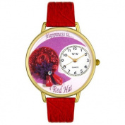 Whimsical Watches Unisex Red Hat Red Leather and Goldtone Watch in Gold