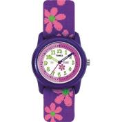 Timex Kids' Analogue Watch, Purple/Pink Flowers Nylon Strap