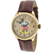 Disney Women's Mickey Mouse Moulded-Hands Vintage Brown Watch, Simulated-Leather Strap