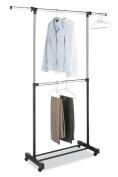 Whitmor Adjustable 2-Rod Garment Rack, Chrome/Black