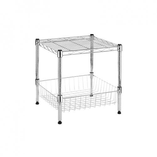 whitmor supreme stacking shelf with basket ebay