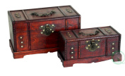 Quickway Imports Antique Wooden Trunk, Old Treasure Chest