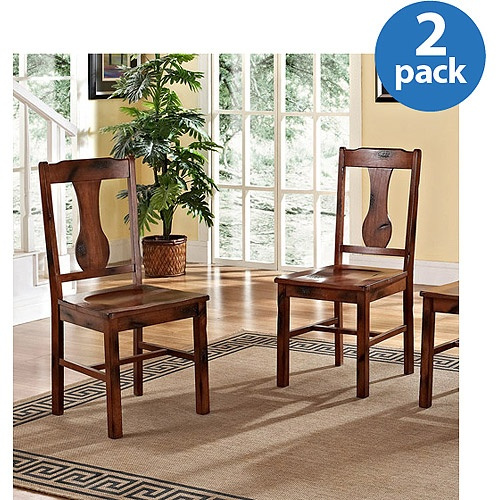 Solid Wood Dining Chair Set Of 2 Dark Oak Brand New EBay