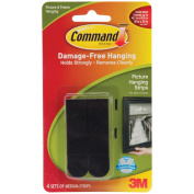 Command Picture Hanging Strips, 1.6cm x 7cm , Black, 4 Ct